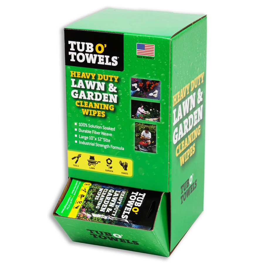Tub O' Towels HD Lawn & Garden Cleaning Wipes Gravity Fed Center Display 1ea/Large (10 In X 12 In)