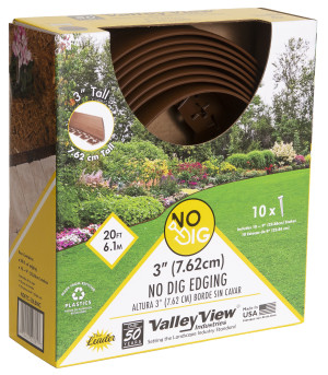 Valley View Innovative Edging Tall Coiled with Poly Nails Light Brown 4ea/3 In X 20 ft