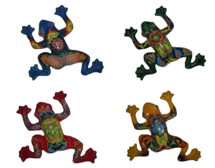 Talavera Frog Hanger Sets Blue Green Red Yellow 4ea/15 in