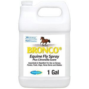 Farnam Bronco e Equine Fly Spray, with Citronella Scent, for horses, ponies and dogs, 4ea/128 oz