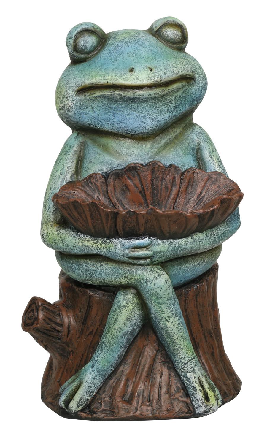 Alpine Frog Holding A Flower Bird Feeder Birdbath Statue Green 1ea/One Size