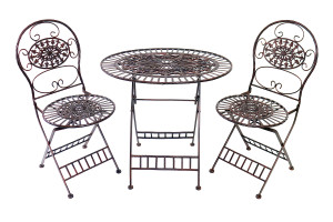 Alpine Metal Bistro Set One Table & Two Chairs Brown 1ea/30 In X 22 In X 28 in