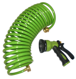 Centurion Coil Hose with 6-Way Multi-Pattern Nozzle Green 6ea/25 ft