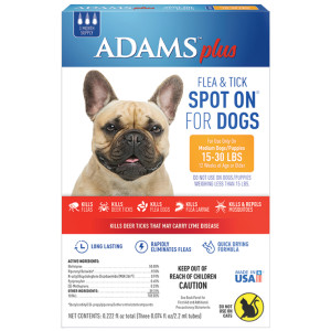Adams Plus Fleas and Tick Prevention Spot On for Dogs Medium Dogs 15-30 Pounds 6ea/3 Month Supply, Refill
