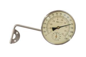 E-Z Read Brushed Nickel Metal Thermometer Hydrometer Nickel 6ea/4 in