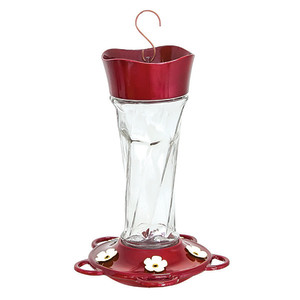 Classic Brands More Birds® Twist Hummingbird Feeder Glass Twist Glass Red 4ea/11 oz