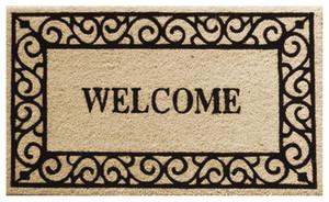 Robert Allen Scroll Welcome Mat Beige, Black 5ea/18 In X 30 in