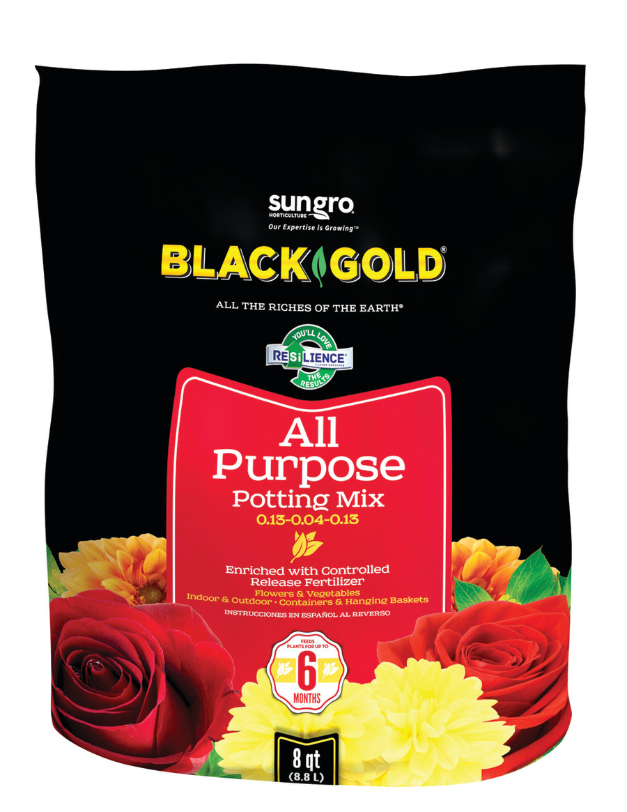 Black Gold All Purpose Potting Soil 8ea/0.13-0.04-0.13, 8 qt