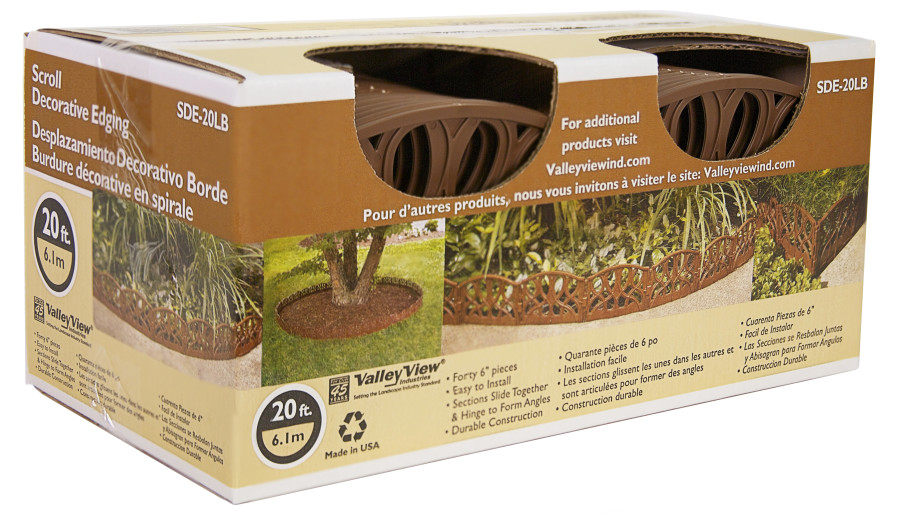 Valley View 20lb Scroll Decorative Edging 40-6in Pieces Per Box Light Brown 6ea/6 In. X 20 ft