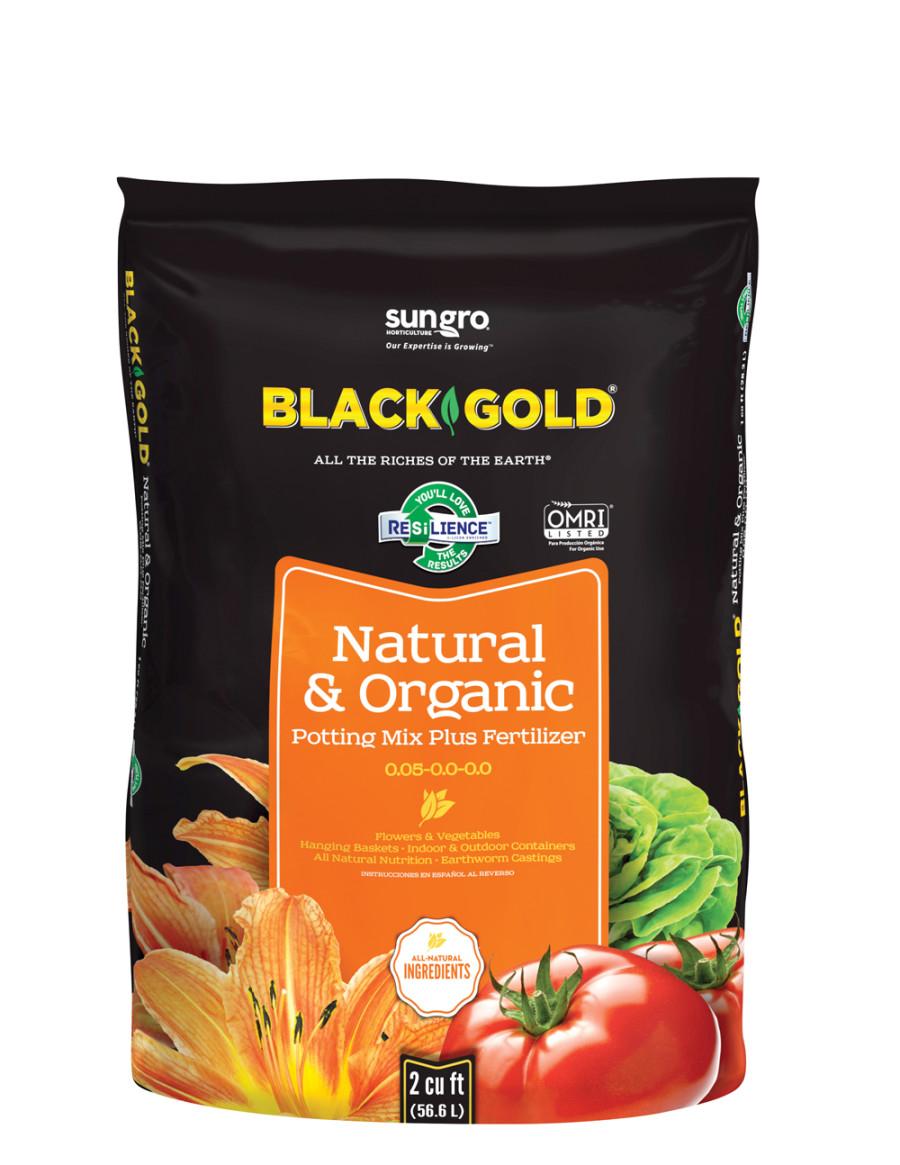 Black Gold Natural & Organic Potting Soil Plus Fertilizer 0.05-0.0-0.0 5ea/2Cuft