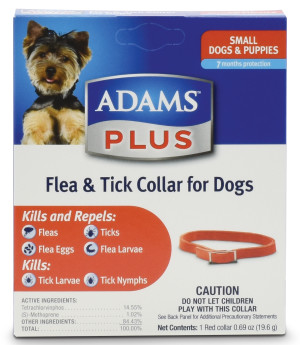 Adams Plus Flea & Tick Collar for Dogs Red Collar 6ea/Small Dogs & Puppies