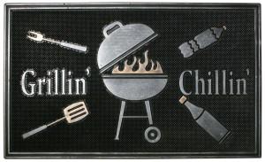 Robert Allen Grillin N Chillin Door Mat Black, Grey 5ea/18 In X 30 in