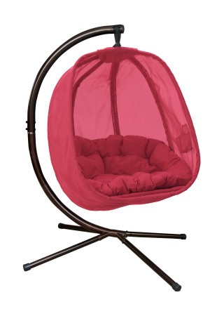 FlowerHouse Hanging Egg Chair with Stand Red 1ea/66 In X 34 In X 34 in