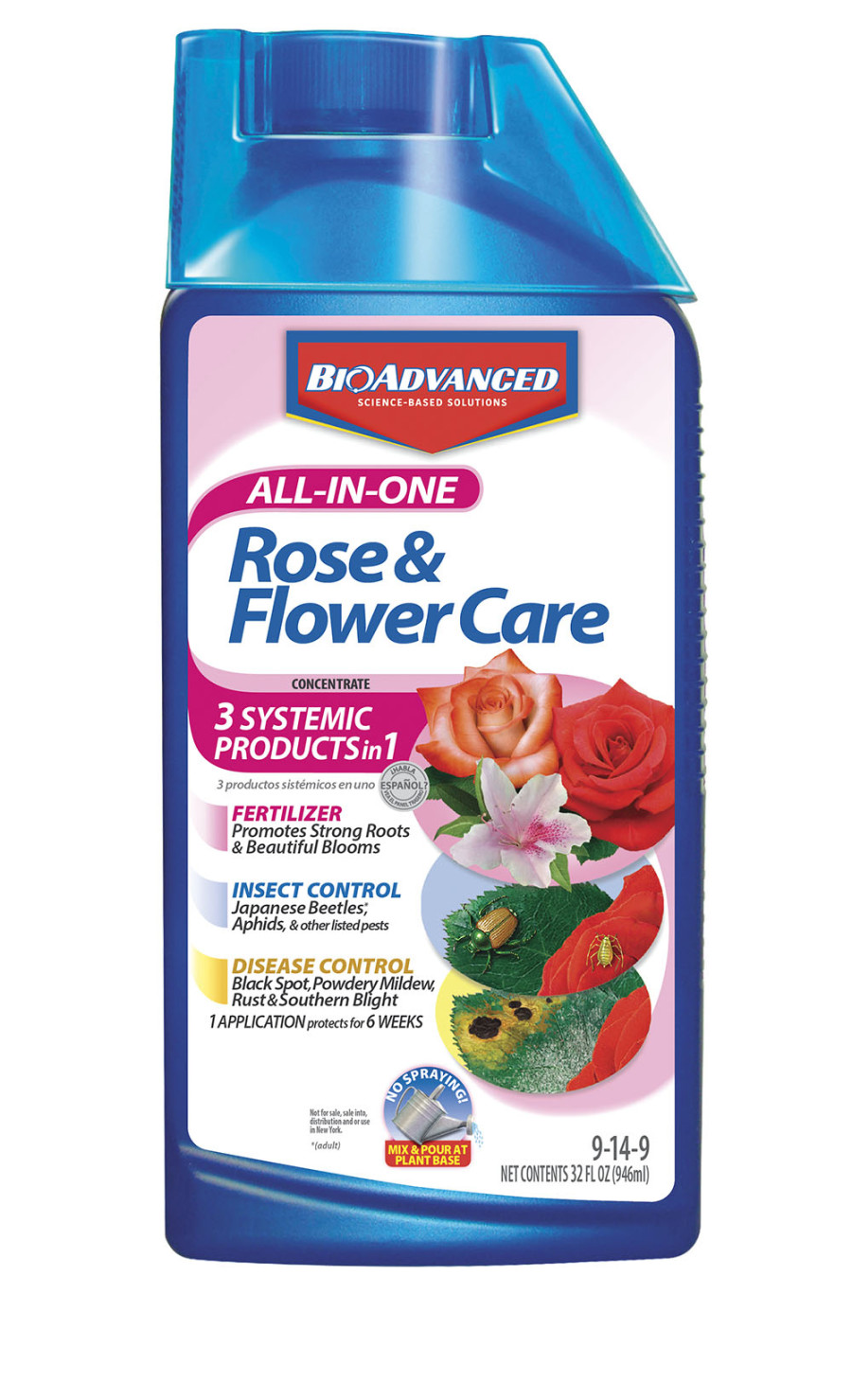 BioAdvanced All-In-One Rose & Flower Care Concentrate 9-14-9 8ea/32 fl oz