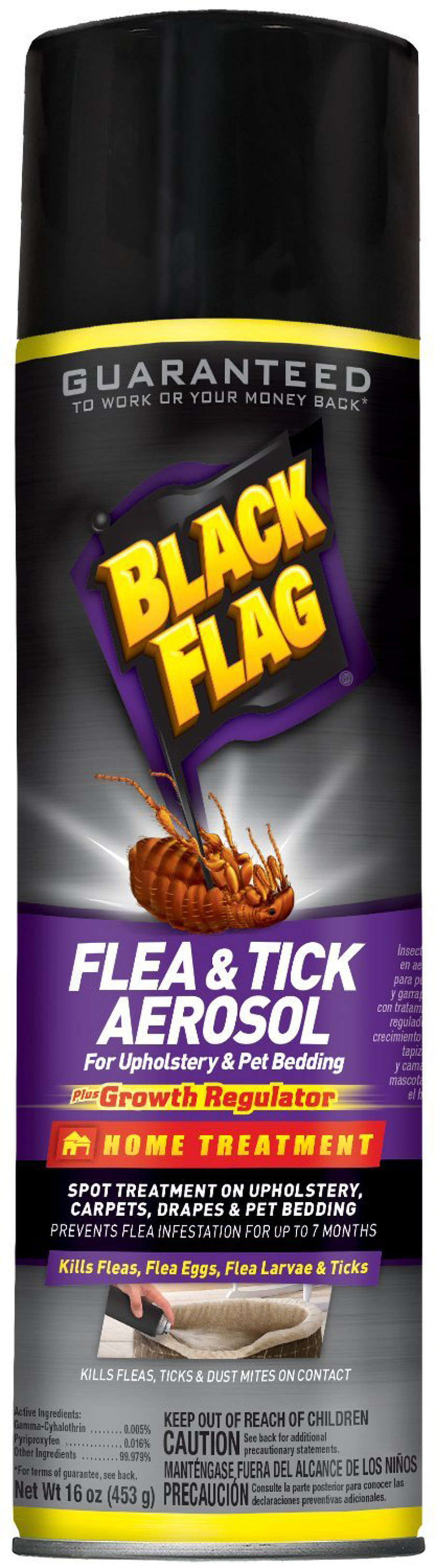Black Flag Flea & Tick Spray Aerosol for Upholstery & Pet Bedding 12ea/16 oz