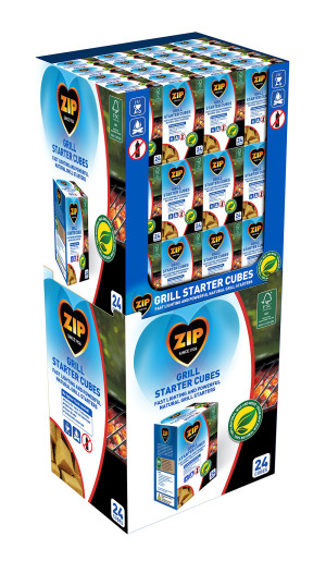 Zip Grill Starter Cubes Natural Pre-Filled Display 48ea/24 ct