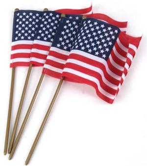 Flag Zone American Hand Flag Economy (No Sew) 12ea/4Pk 4Inx6 in