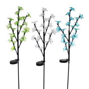 Alpine Solar Powered Branch With 20 Flowers & LED Lights Garden Stake Multi 6ea/One Size