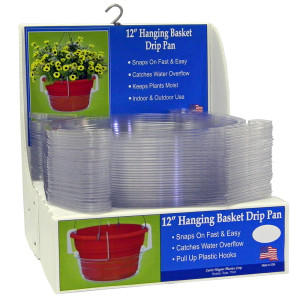 Curtis Wagner Plastics Hanging Basket Drip Pan PDQ Clear 30ea/12 in