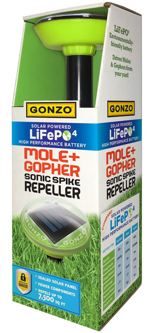 Gonzo Solar Powered LiFePO4 Mole and Gopher Sonic Spiker Repeller 12ea/12 In X 8.5 In X 12.5 in