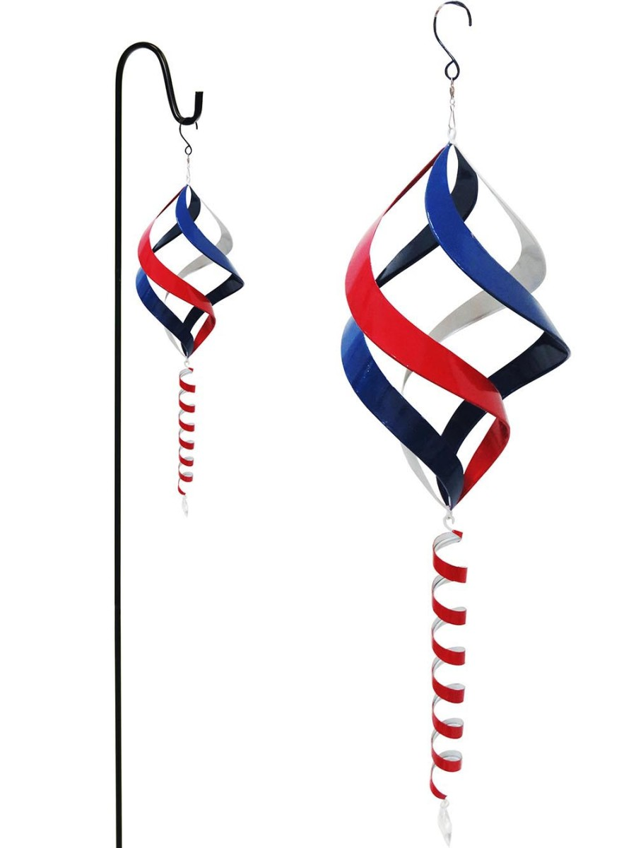 Alpine Metal Wind Spinner with Shepherds Hook Red White Blue 4ea