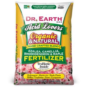 Dr. Earth Acid Lovers Premium Azalea, Camellia, Rhododendon and Maple Fertilizer 3-4-3 1ea/25 lb