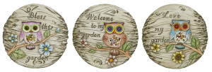 Alpine Cement Stepping Stone Owl's Design Assorted 6ea