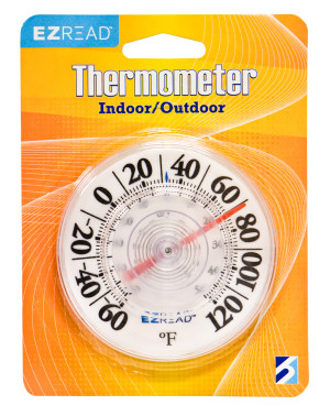 E-Z Read Dial Thermometer Indoor/Outdoor White 10ea/3.5 in