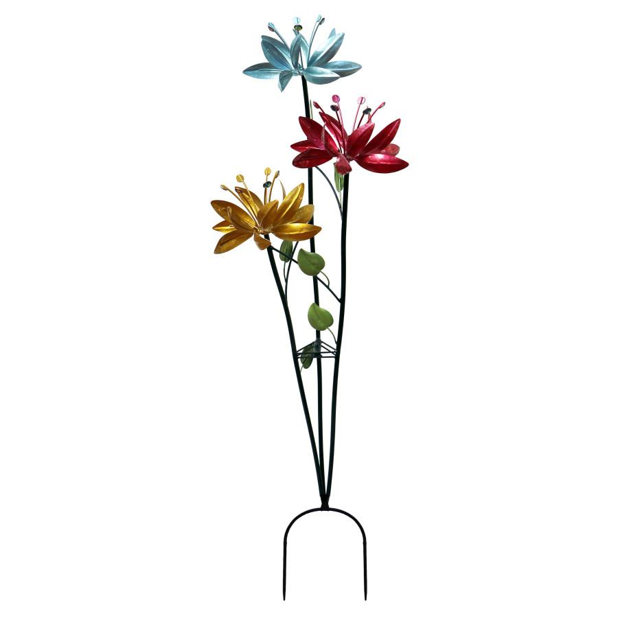Alpine Triple Lily Floral Kinetic Wind Spinner Garden Stake 4ea