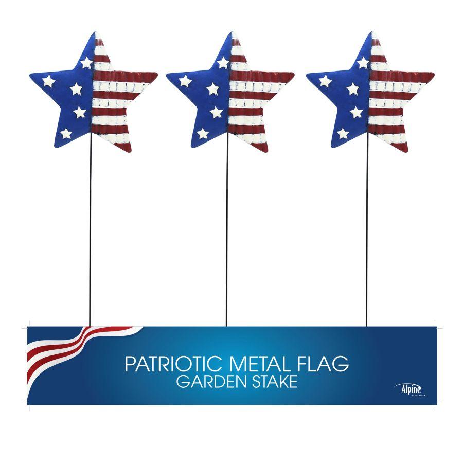 Alpine Patriotic Star Metal Garden Stake Display Assorted 18ea