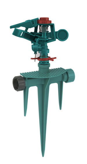 Gilmour Circular Impulse Sprinkler with Triple Spike Base Poly Green 6ea/Large