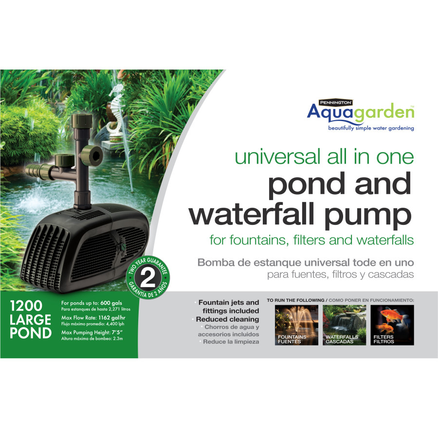 Pennington Aquagarden Universal All-in-One Pond Pump GPH 2ea/1200 GPH