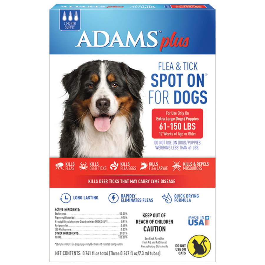 Adams Plus Fleas and Tick Prevention Spot On for Dogs 3 Month Supply 6ea/Extra Large Dogs 61-150 lb,
