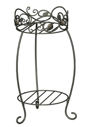 Panacea Double Plant Stand Scroll & Ivy Black 6ea/21.5 in