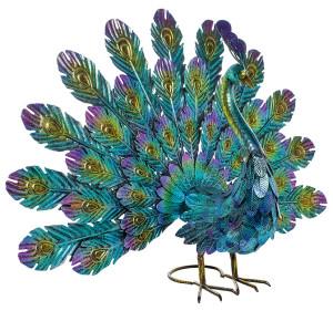 Alpine Metal Feather Spread Peacock Decor 1ea