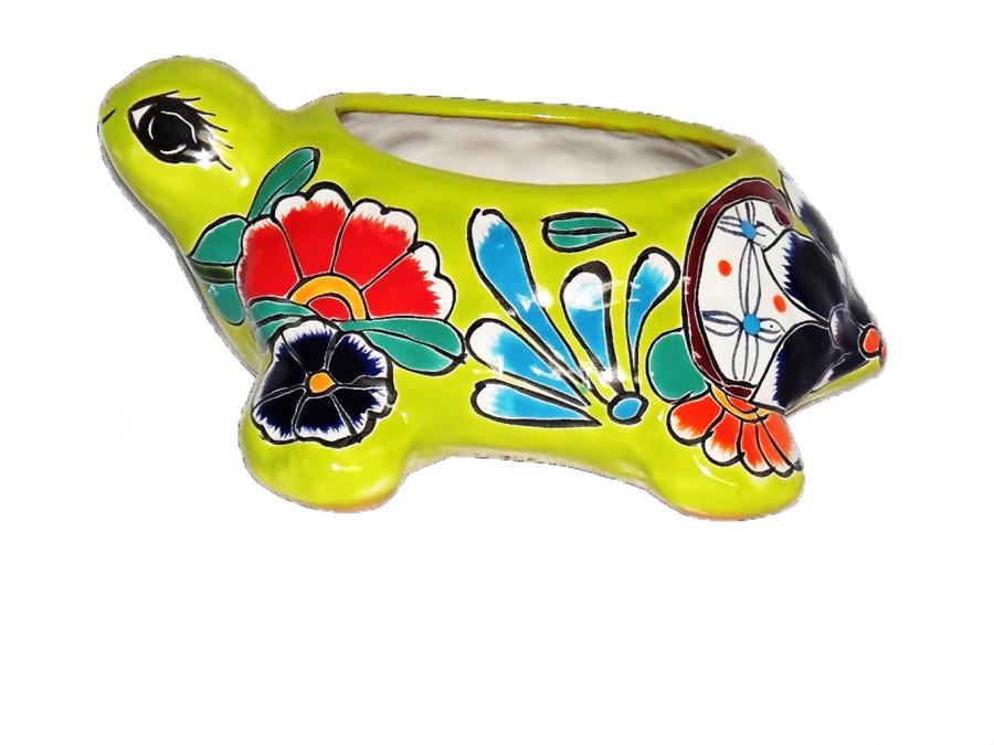 Talavera Turtle Shell Planter Multi-Color 4ea/Small