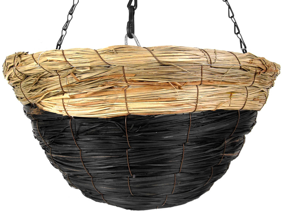 Supermoss Round Wood Woven Hanging Basket