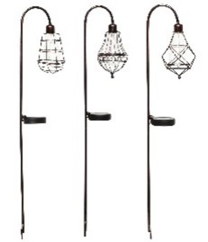 Alpine Solar Metal Light Stake Edison Bulb Garden Assorted 6ea