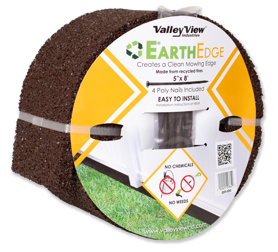 Valley View Earth Edge Rubber Edging Roll 8inX5in With Poly Nails Dark Brown 4ea/5 In. X 8 ft
