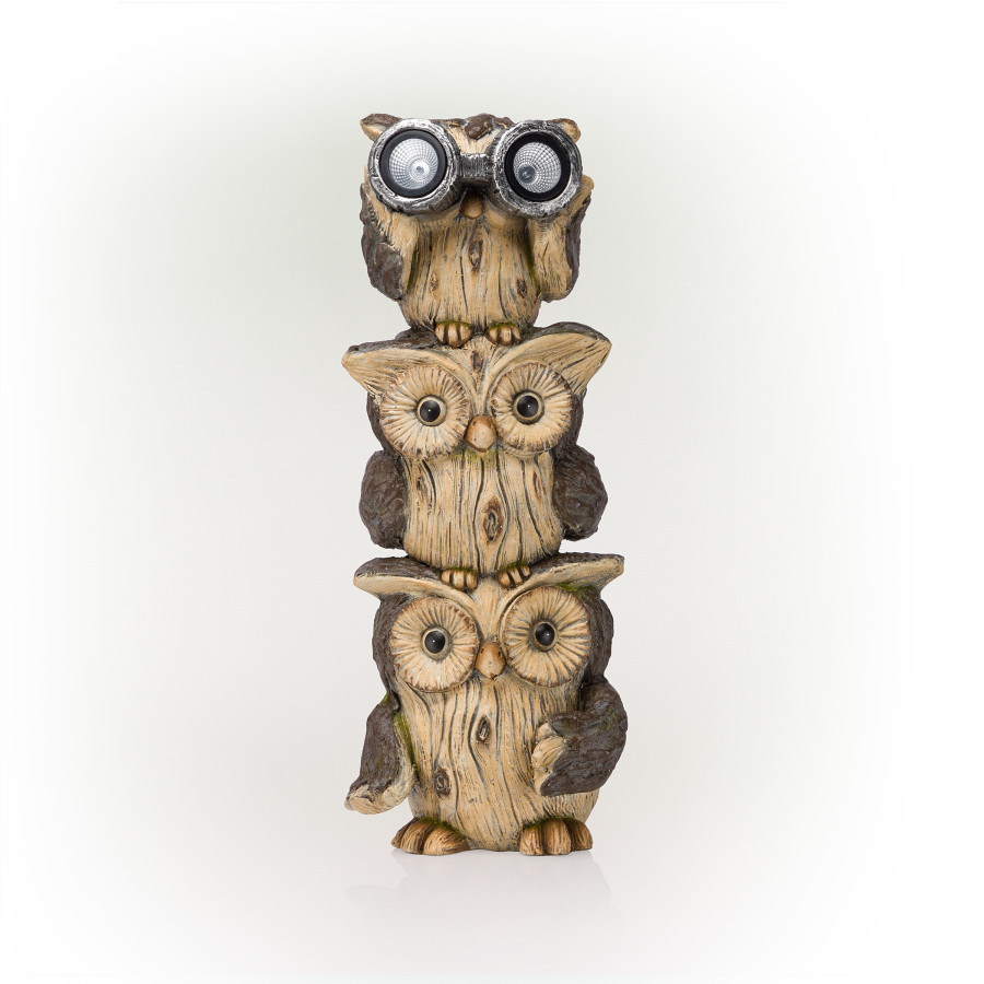 Alpine Solar 3 Stacked Binocular Owls Statue With LED Light Brown 1ea/One Size