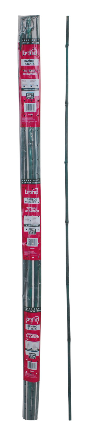 Bond Heavy Duty Packaged Bamboo Stakes 6pk Green 40ea/3/4Inx3/4Inx5 ft