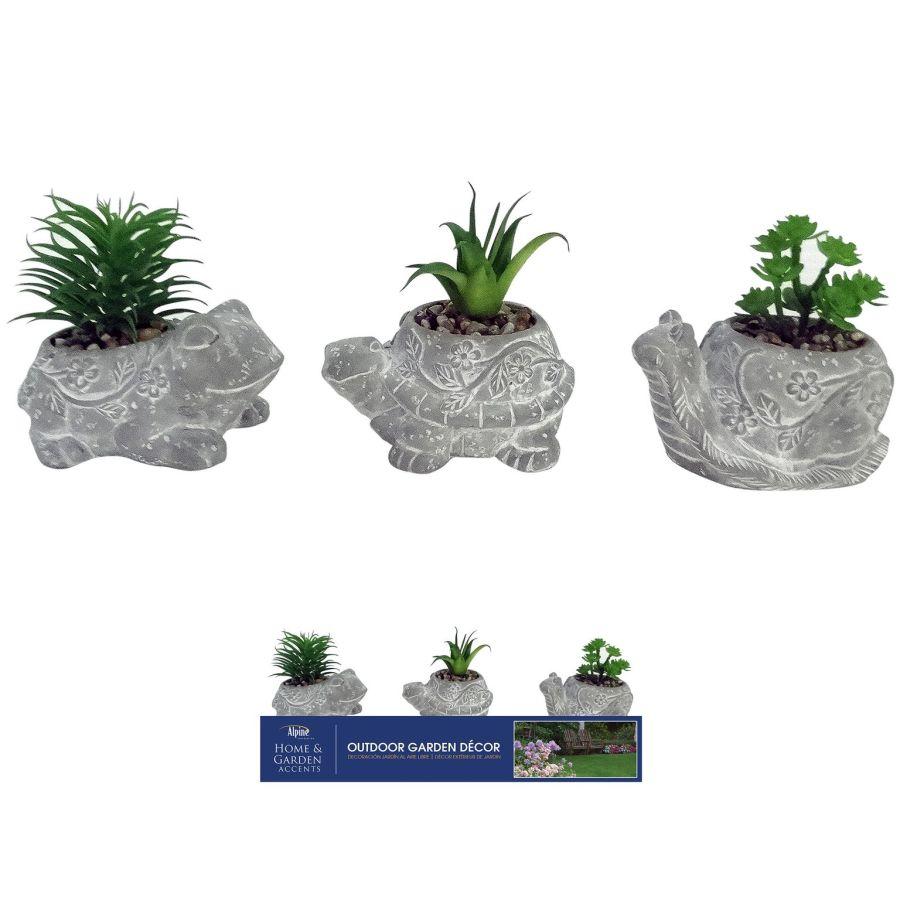 Alpine Cement Animal Pot with Succulent 3 Assortment 9ea
