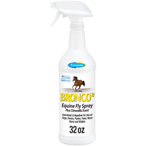 Farnam Bronco e Equine Fly Spray, with Citronella Scent, for horses, ponies and dogs, 12ea/32 oz
