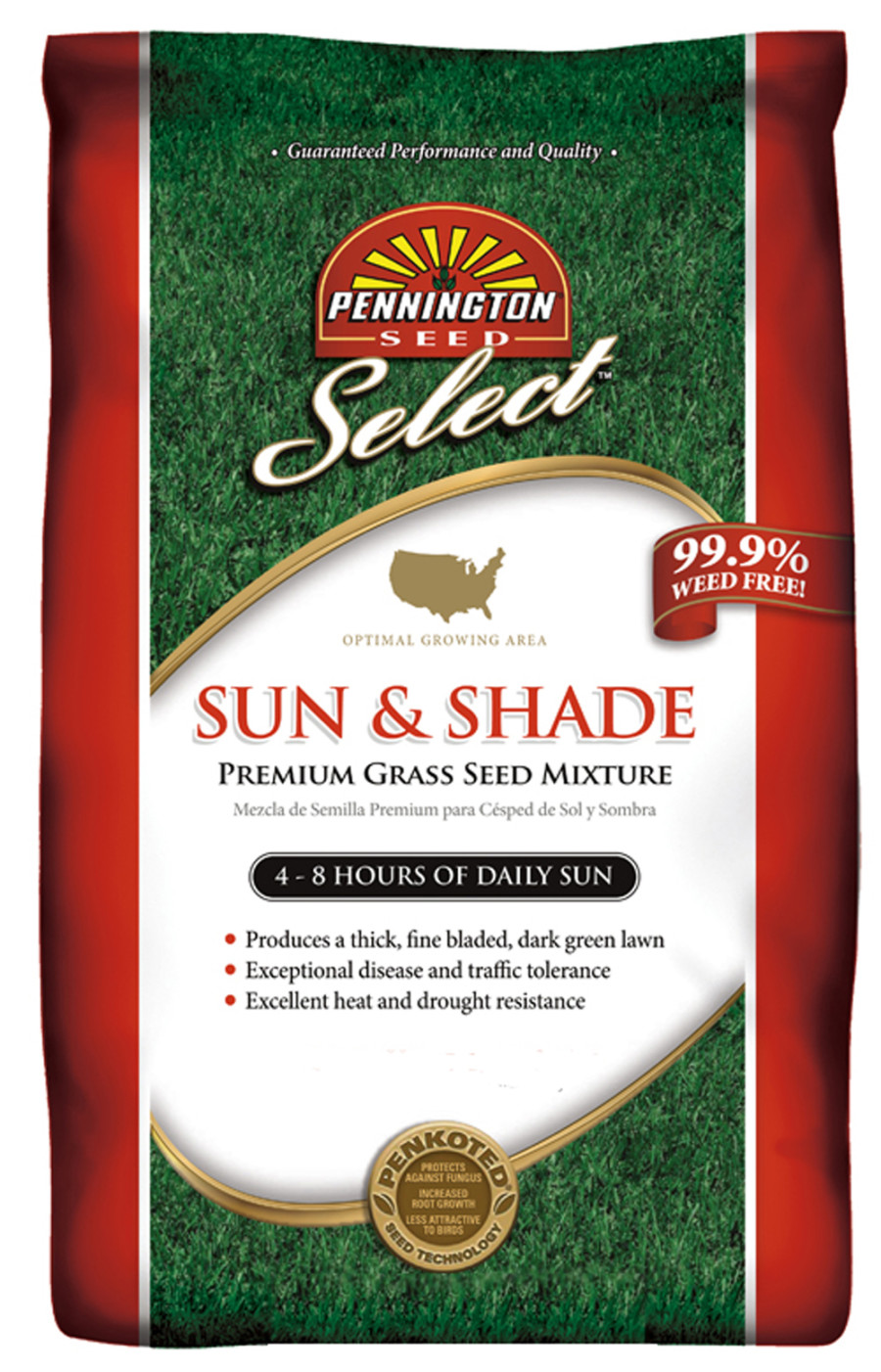 Pennington Sun & Shade Grass Seed Mixture Penkoted 1ea/25 lb