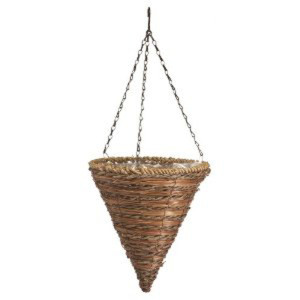Panacea Rope & Fern Cone Hanging Basket Brown 10ea/12 in