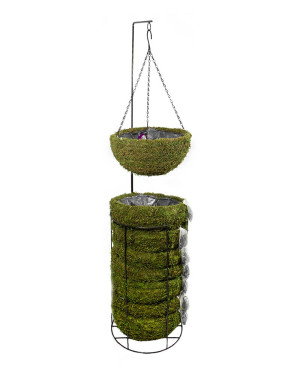 Supermoss Natural Moss Hanging Basket Round Preserved Spring Green 1ea/Large