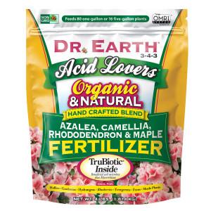 Dr. Earth Acid Lovers Premium Azalea, Camellia, Rhododendon and Maple Fertilizer 3-4-3 12ea/4 lb