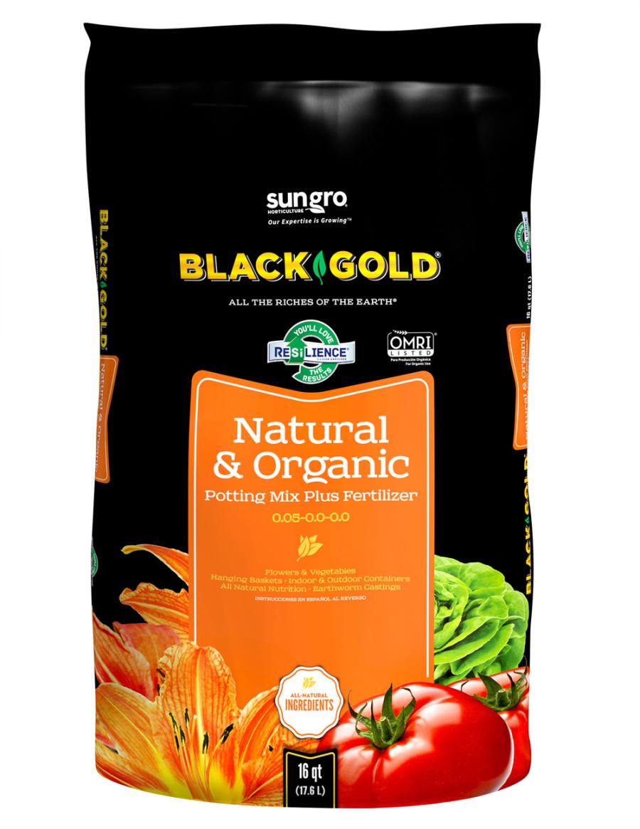 Black Gold Natural & Organic Potting Soil Plus Fertilizer 0.05-0.0-0.0 5ea/16 qt