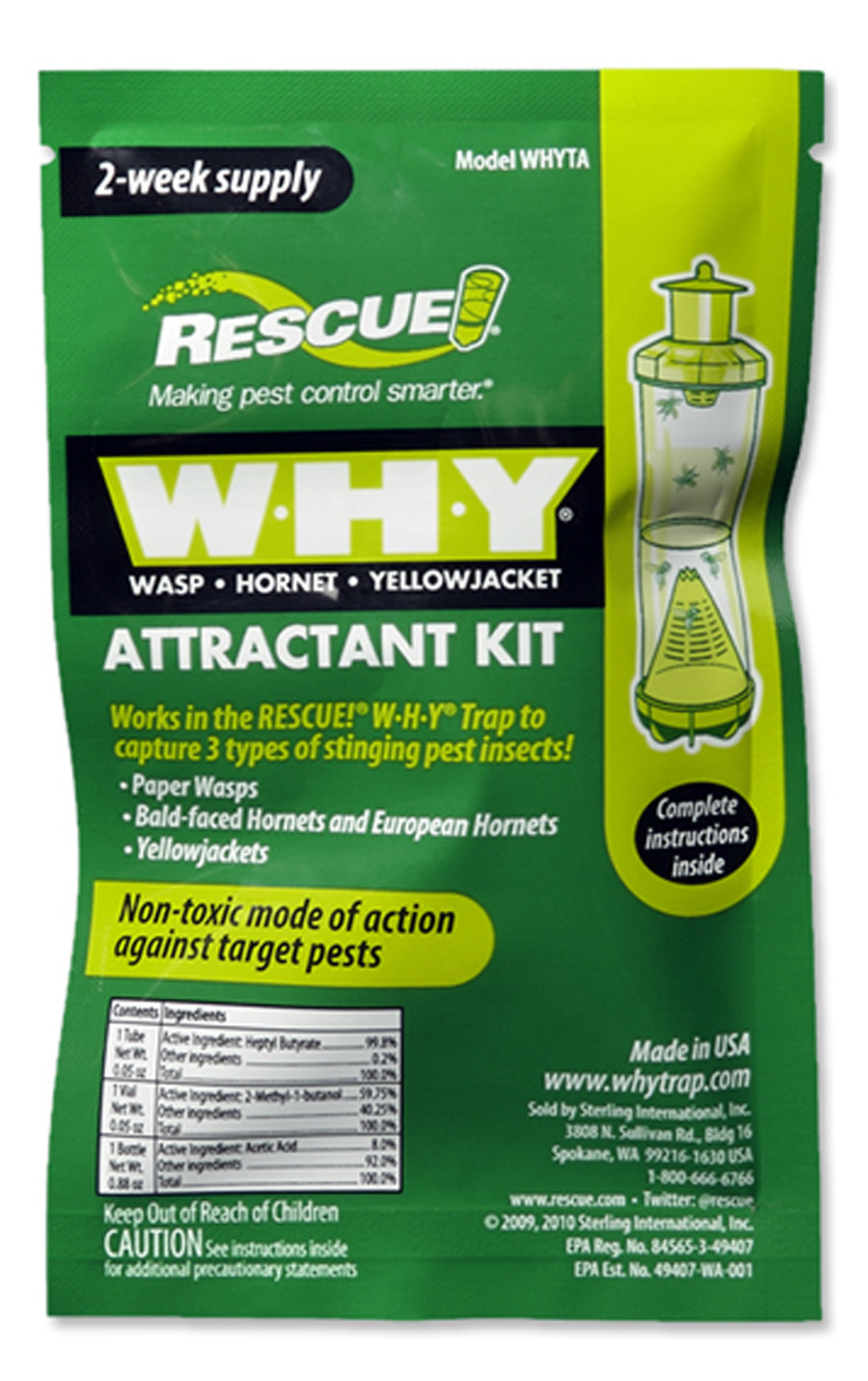 Rescue 2 Week WHY Wasp Hornet Yellowjacket Attractant Kit