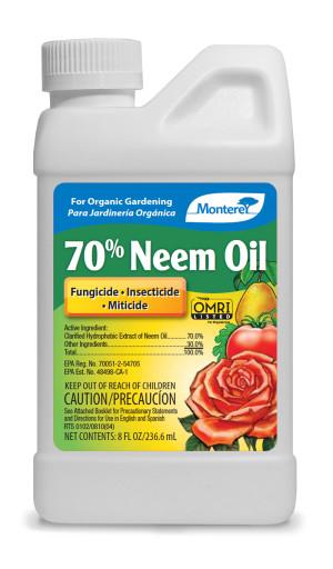 Monterey 70% Neem Oil Fungicide Insecticide Miticide Concentrate Organic 12ea/8 fl oz